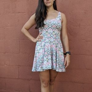 Bright tribal print skater dress
